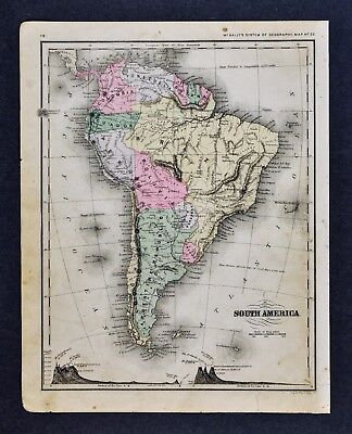 1882 McNally Map - South America Brazil Argentina Chile Peru Ecuador Colombia