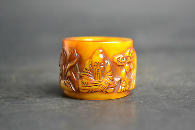 China Fine Noble Collectible Old beeswax carve older under tree Ring Decor