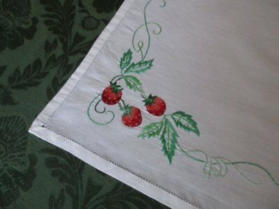 3 VINTAGE PLACE MATS - HAND EMBROIDERED with STRAWBERRIES