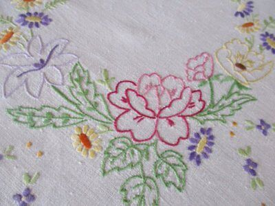 Vintage Tablecloth-Hand Embroidered Flowers-Linen