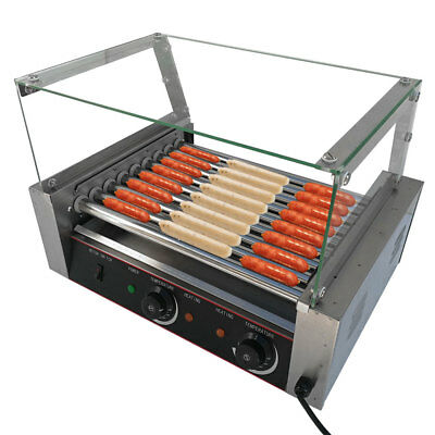 Roller Commercial 24 Hotdog Hot Dog 9 Roller Grill Cooker Machine W/Cover New