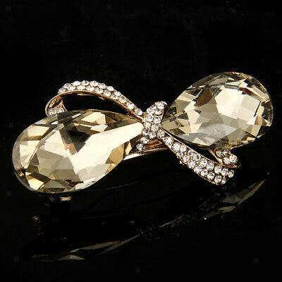 Women's Rhinestone Oval Glass Bow Crystal Hair Pin Barrette Hairpin Clips