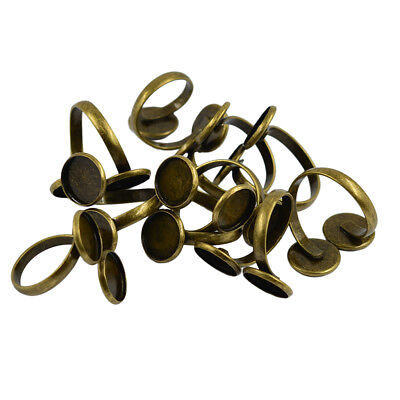 10pcs Antique Bronze Brass Finger Ring Findings Pad Ring Bases for Cabochons