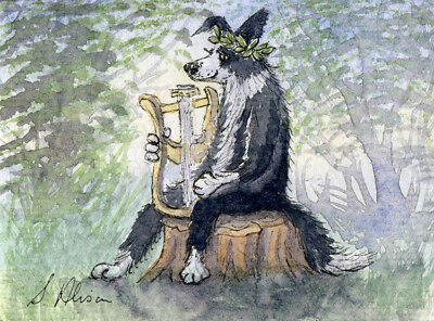 Border Collie dog orig ACEO painting Apollo playing lyre sheepdog Susan Alison