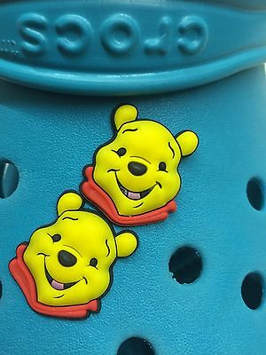 2 Winnie The Pooh Face Shoe Charms For Crocs & Jibbitz Wristbands. Free UK P&P.