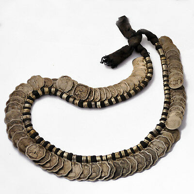 "Old Vintage Antique Rare Coin 22"" Necklace Tribal Ethnic Nepal Gypsy UN1749"