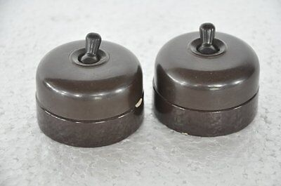 2 Pc Vintage Unique Ceramic & Bakelite Kerson Brand Electric Switches