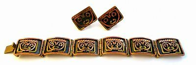 Vintage 1960s 70s Taxco Mexico Modern Mixed Metals MASKS Bracelet & Earrings SET