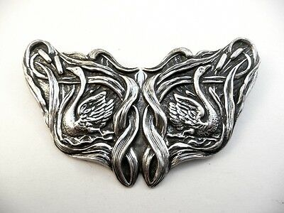 Antique Art Nouveau Sterling Repoussage Swans in Cattails Hand Made BROOCH PIN