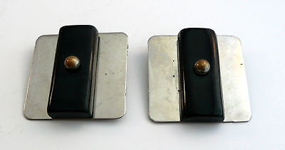 PAIR Vintage 1920s 30s Chrome & Galalith ART DECO Pins