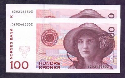 100 Kroner From Norway 1995 2 Pcs With Consecutive Numbers Unc