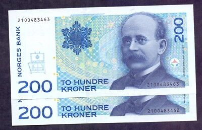200 Kroner From Norway 1994 2 Pcs With Consecutive Numbers Unc