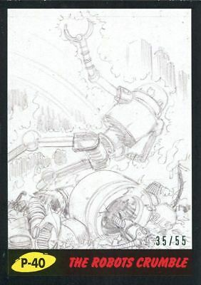 Mars Attacks The Revenge Black [55] Pencil Art Base Card P-40 The Robots Crumble