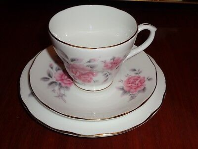 Very Pretty Duchess Bone China Pink Roses Trio Cup Saucer And Side Plate