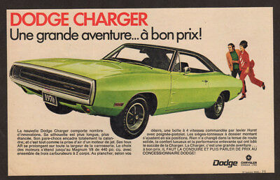 1970 DODGE Charger Vintage Original Print AD - Green muscle car photo Canada