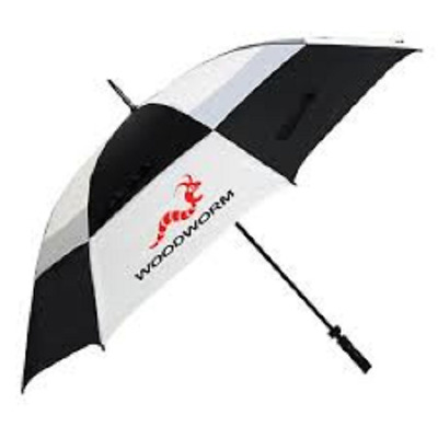 "New Woodworm Windproof 60"" Double Canopy Golf Umbrella - Black & White"