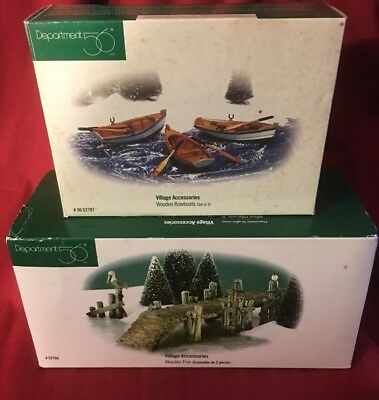 DEPT 56 NIB 3 Rowboats + Wooden Pier Never Used Never Displayed MINT