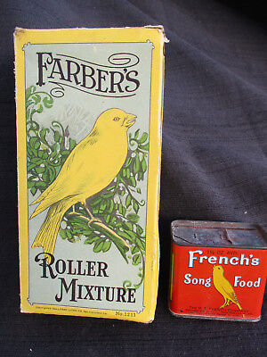 Vintage Farber's Seed Co Roller Mixture Box & Frenchs Pet Cage Bird Food Tin Can