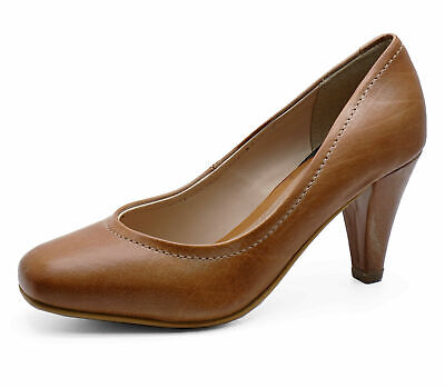 Ladies Real Leather Tan Slip-On Court Comfy Smart Work Secretary Shoes Uk 3-8