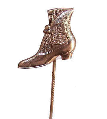 C.1900 EDWARDIAN Gold Filled Advertising Stick Pin-Hamilton Brown Shoe Company!