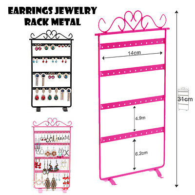 48 Hole Earrings Jewelry Display Rack Metal Stand Holder Showcase Black or Pink