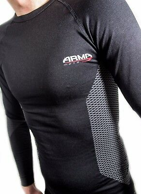 ARMR Moto Motorcycle Motorbike Sports Compression BaseWear Under Shirt Top Black