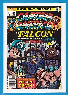 "Captain America & The Falcon #206_Feb 1977_Very Fine+_""the Swine""_Jack Kirby_Uk!"