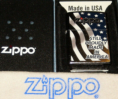 ZIPPO STILL PROUDLY MADE IN AMERICA Lighter STARS & STRIPES New  MINT In BOX