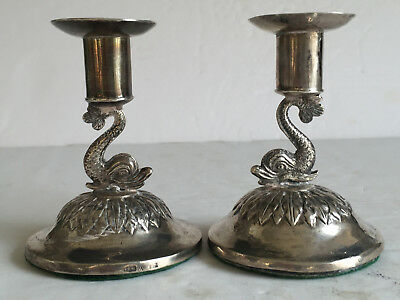 Pair Antiq Sterling Silver DOLPHIN Stem Short Candlesticks Weighted Base 3 5/8""
