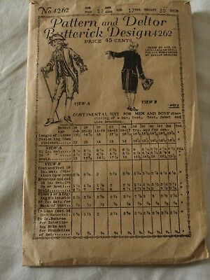 VICTORIAN EARLY 1900's ANTIQUE SEWING PATTERN CONTINENTAL SUIT FOR  BOYS AGE 12