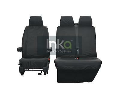 VW Transporter T6 Front 1 + 2 Inka Tailored Waterproof Seat Covers Black
