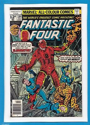 Fantastic Four #184_July 1977_Vf Minus_The Eliminator_Bronze Age Marvel_Uk!