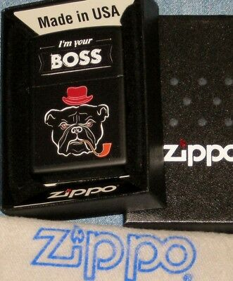 ZIPPO  I'M YOUR BOSS BULLDOG  Lighter DOG  Pipe HAT New  MINT In BOX