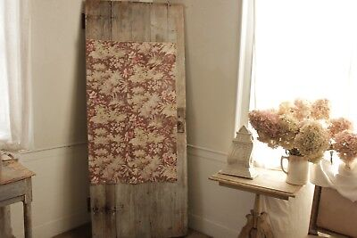 Antique French Curtain drape faded muted earth tones vintage material France