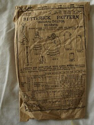 """VICTORIAN EARLY 1900's ANTIQUE SEWING PATTERN FOR DOLL LAYETTE FOR 14"""" DOLL"""