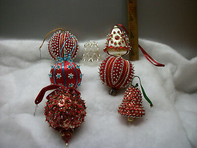 Lot Of 7 Vintage Handmade Beaded Sequin Satin Christmas Tree Ornaments Lee Wards