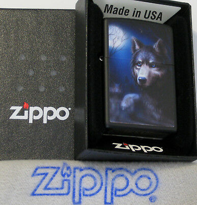 ZIPPO WOLF Lighter FULL MOON  Mint In Box NEW Black Matte Finish