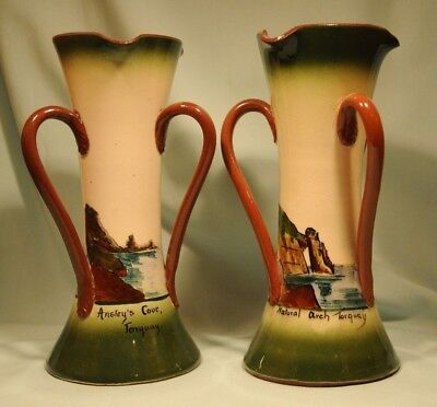Longpark Pottery Pair of Faience Vases, Anstey's Cove & Natural Arch Torquay