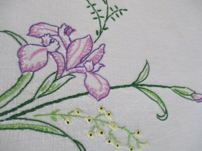 Vintage Tablecloth - Iris Flowers - Hand Embroidered - Linen
