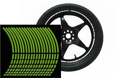 NEW wheel rim tape striping stripes stickers FLUORESENT green.(36 piece 8 p/w)