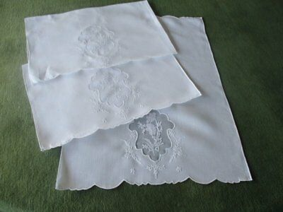 3 Vintage Hand Guest Towels Hand Embroidered Madeira Decoration