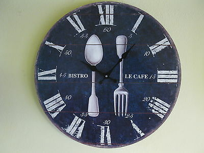 Large Wall Clock 35 cm Nostalgic Clock Antique Style Kitchen Clock Cutlery