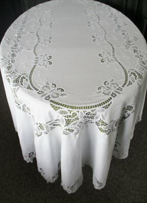 "OVAL TABLECLOTH DECORATED WITH TAPE LACE & HAND EMBROIDERY-64""x96"""