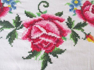"LARGE TABLECLOTH - HAND EMBROIDERED PINK ROSES - 66"" x 100"""