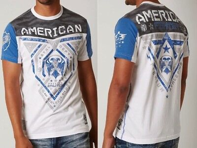 AMERICAN FIGHTER Mens T-Shirt BLUE MOUNTAIN Athletic WHITE Biker Gym MMA UFC $40
