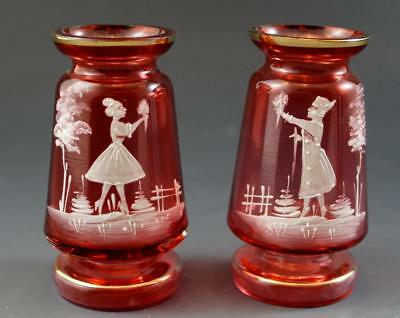 Mary Gregory Antique Cranberry Art Glass Pair Cabinet Bud Vases Couple & Flowers