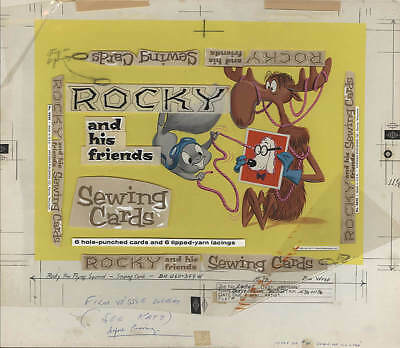 Rocky & His Friends Sewing Cards Cover -Whitman Warehouse Original Painting-1961