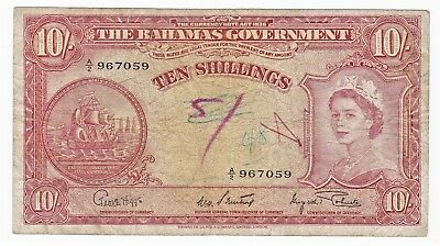 Series 1936 TEN SHILLINGS NOTE from THE BAHAMAS GOVERNMENT UK