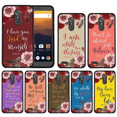 For ZTE Max XL N9560 Bible Verses Design TPU Black Silicone Flexible Case Cover