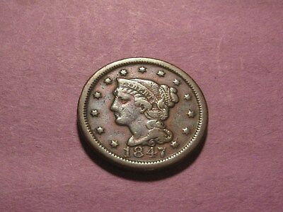 Vintage 1847 Braided Hair Large Cent Up For Auction  (You Grade)
